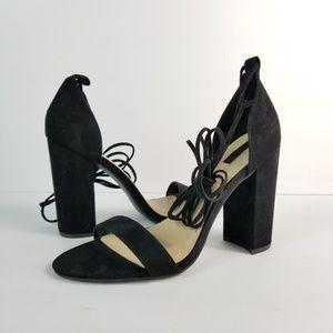 Black Suede Lace up Block Heel Sandals